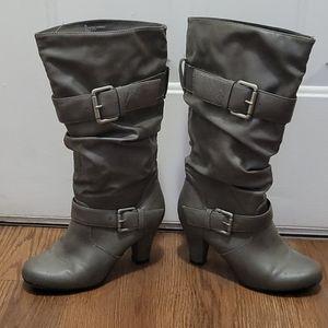 Cute grey heeled boots